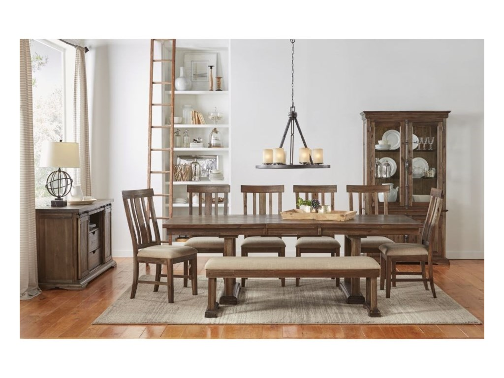 AAmerica Dawson8 Piece Trestle Table and Chair Set