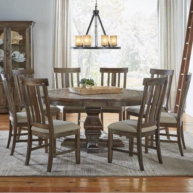 AAmerica Dawson9 Piece Round Pedestal Table and Chair Set