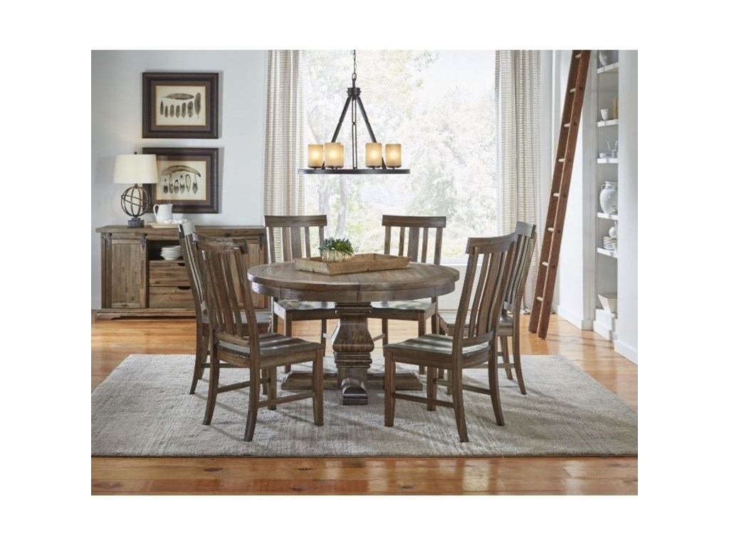AAmerica Dawson7 Piece Round Pedestal Table and Chair Set