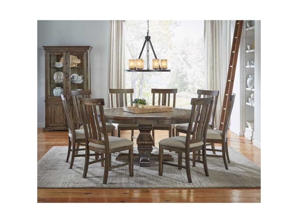 AAmerica DawsonRound Pedestal Table Dining Room Group