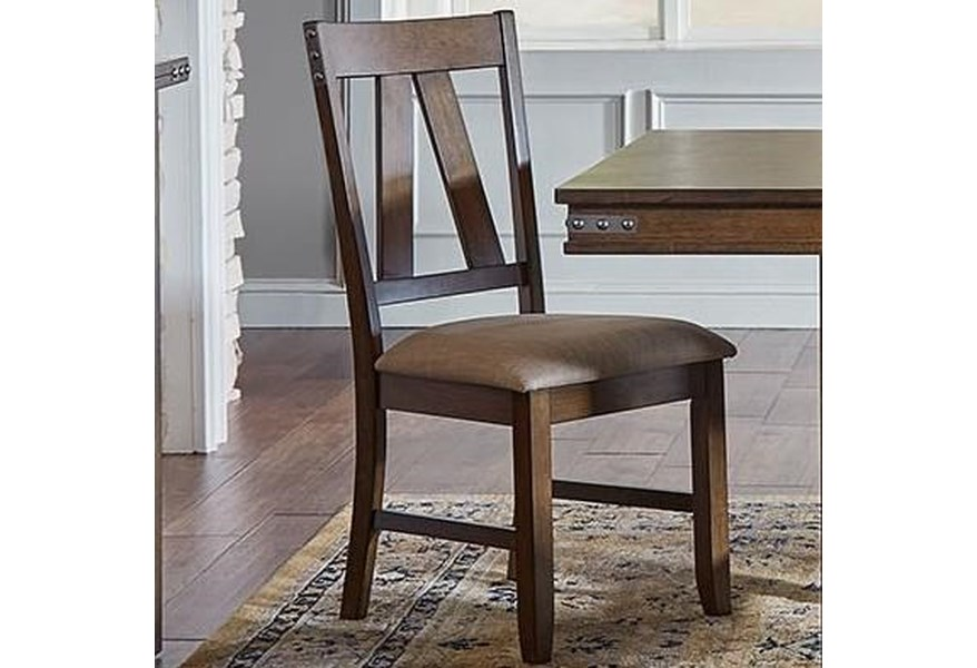 Aamerica Eastwood Dining Upholstered Solid Wood Side Chair With Metal Band Details Vandrie Home Furnishings Dining Side Chairs