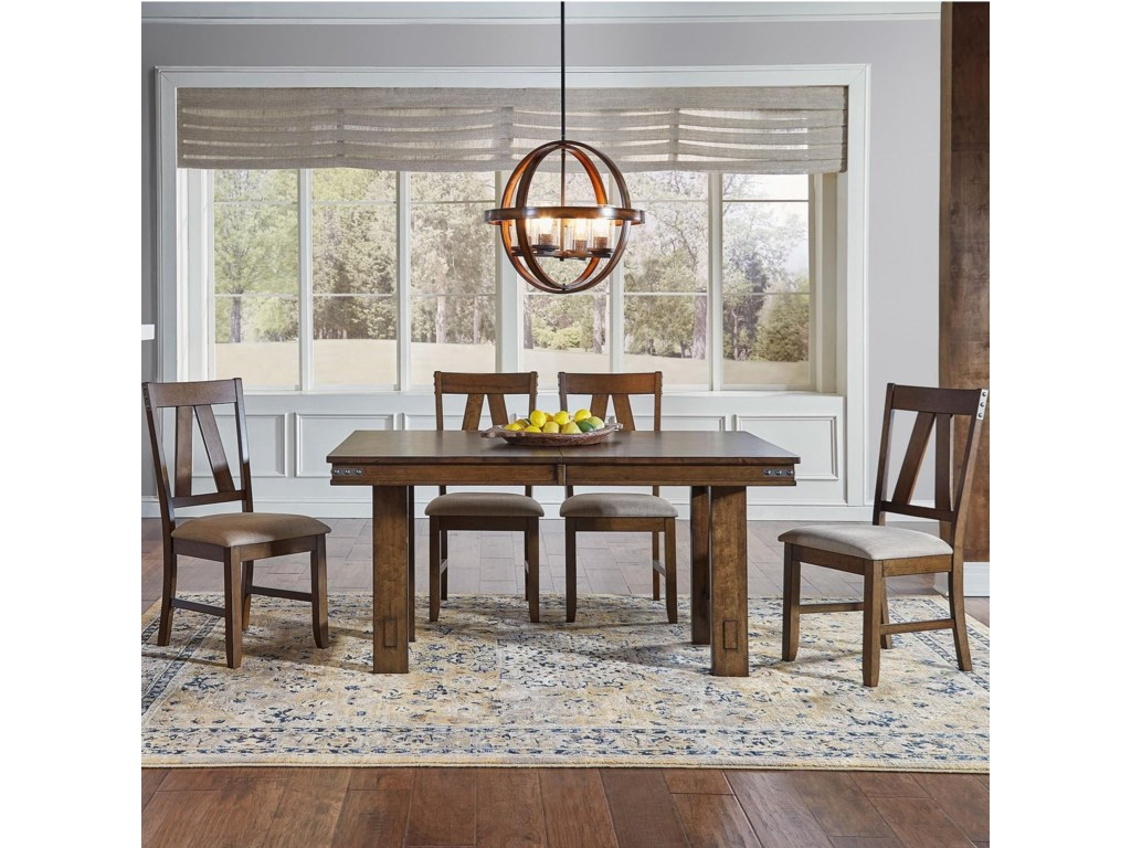 AAmerica Eastwood DiningTrestle Table And 4 Side Chairs