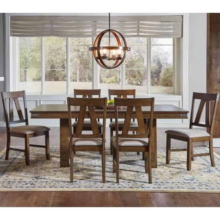 Trestle Table And 6 Side Chairs
