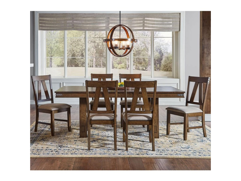 AAmerica Eastwood DiningTrestle Table And 6 Side Chairs