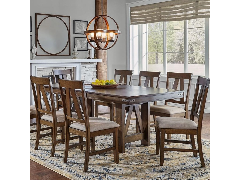 Aamerica Eastwood Dining Solid Wood Butterfly Leaf Table With Wrapped Metal Band Detail Wayside Furniture Dining Tables