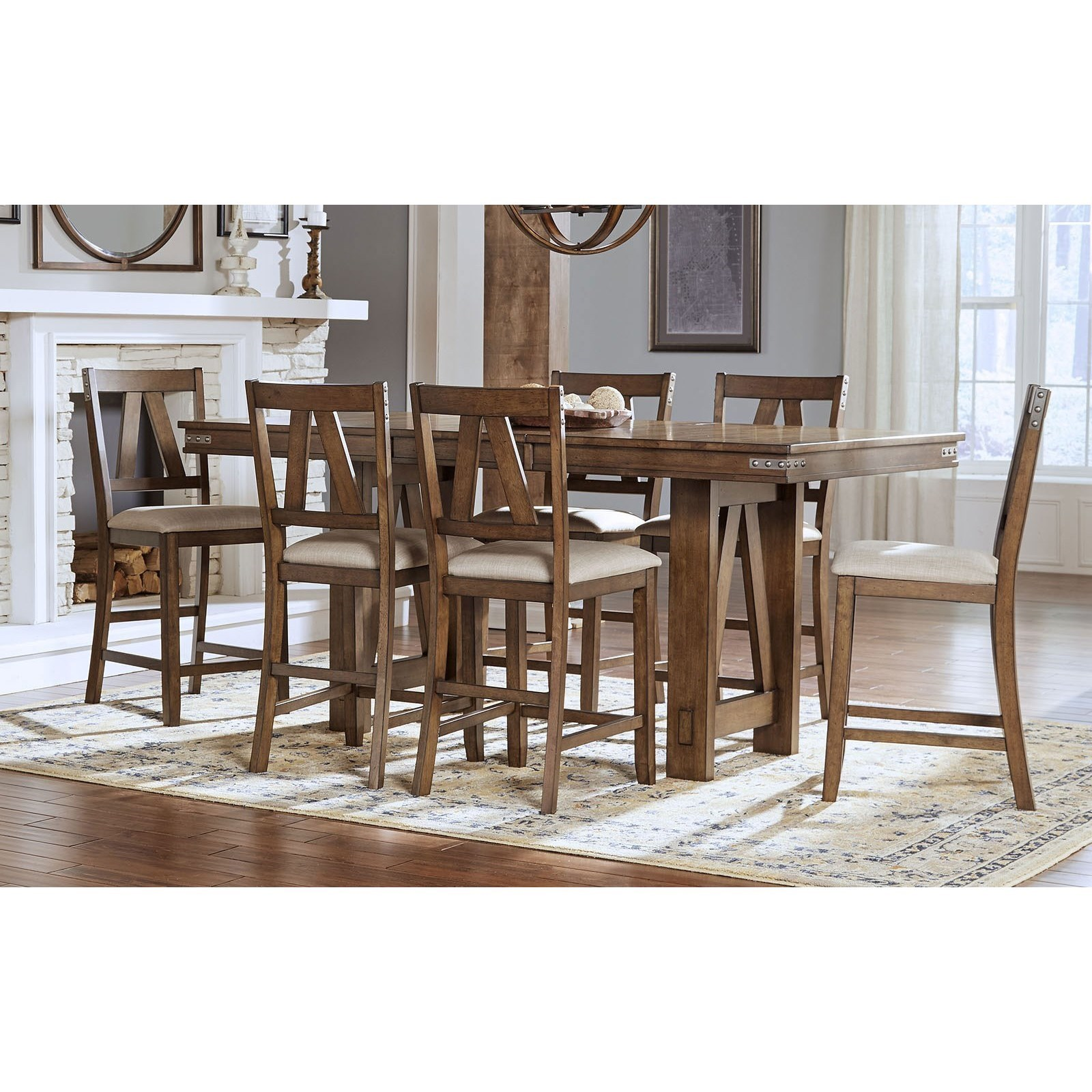 AAmerica Eastwood Dining Solid Wood Counter Height Table With Butterfly  Leaf And 6 Upholstered Side Chairs