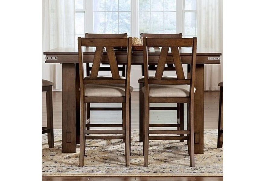 Aamerica Eastwood Dining Eaw Gg 6 75 0 Solid Wood Counter Height Table With Butterfly Leaf And Wrapped Metal Band Detail Gill Brothers Furniture Pub Tables