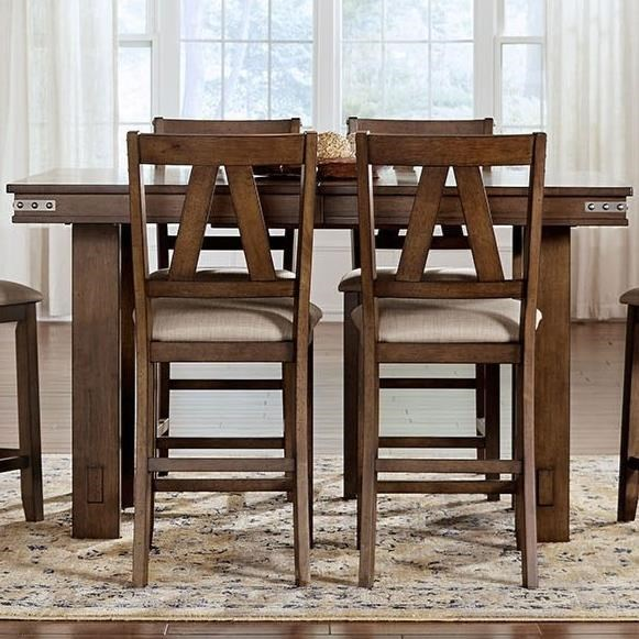 AAmerica Eastwood Dining Solid Wood Counter Height Table With Butterfly Leaf  And Wrapped Metal Band Detail