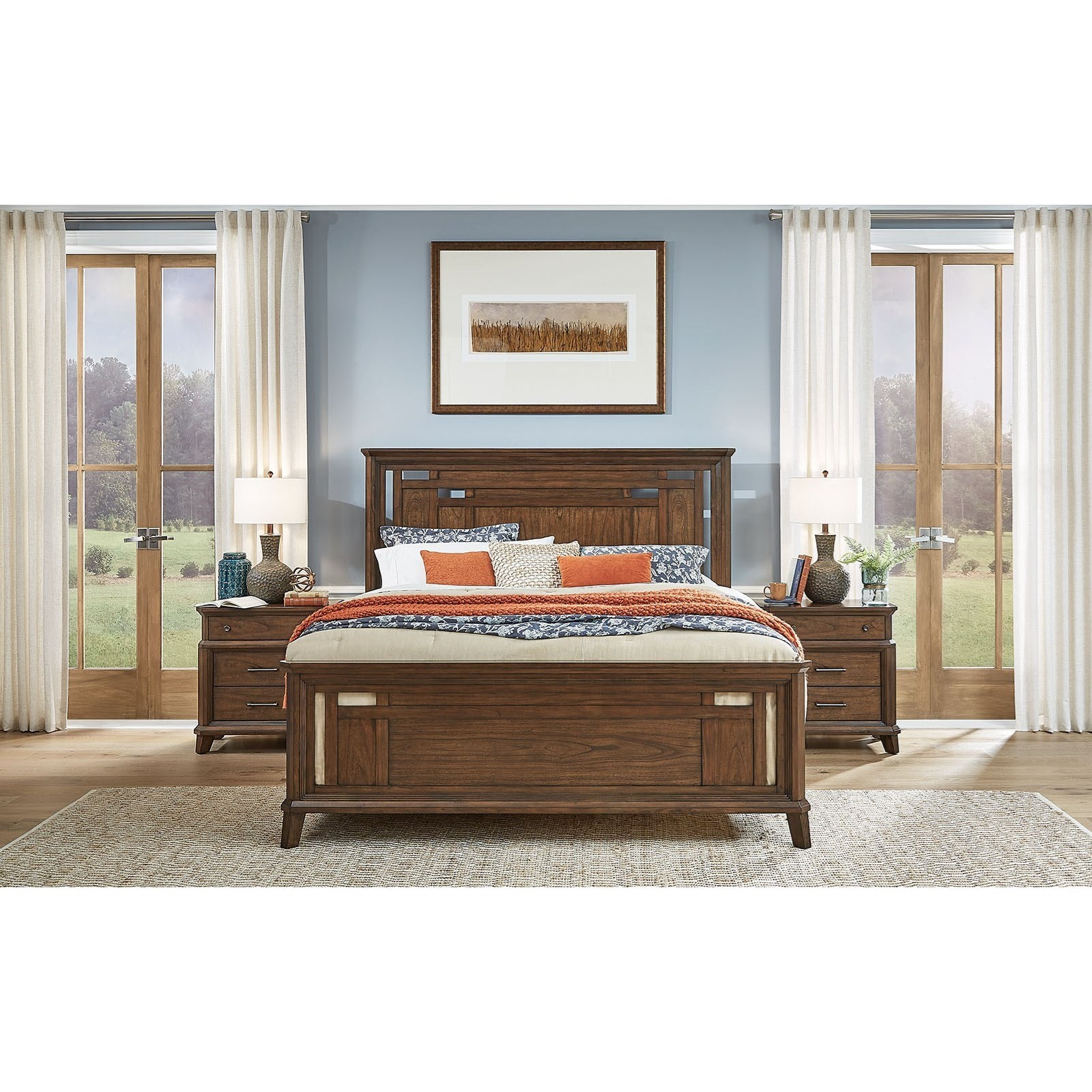 Transitional Rustic King Panel Bed