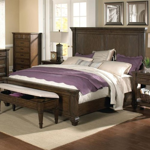 AAmerica Gallatin Solid Mahogany King Mansion Bed with Crown Molding