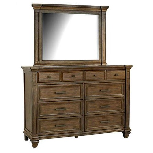 AAmerica Gallatin Solid Mahogany 8 Drawer Dresser & Mirror with Crown Molding