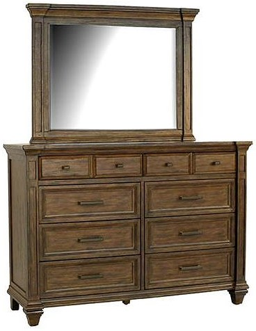 century collections dresser drawer rooftop mirror double w with mid drawers bassett antiques furniture modern