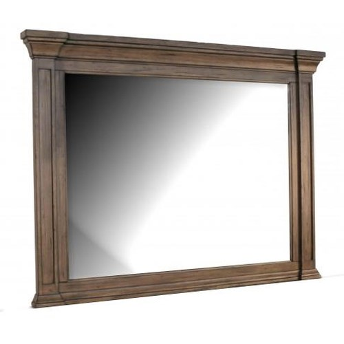 AAmerica Gallatin Solid Mahogany Landscape Mirror with Crown Molding
