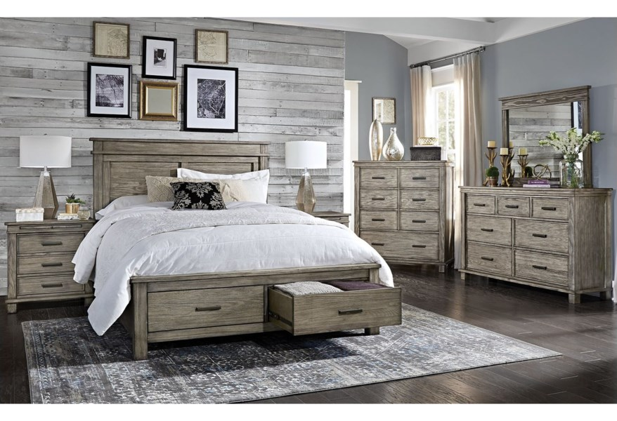 Aamerica Glacier Point Cal King Storage Bedroom Group Fashion