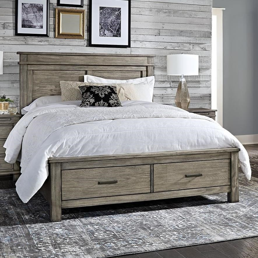 Transitional Solid Wood Queen Storage Bed with 2 Drawers
