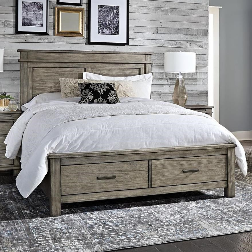 Aamerica Glacier Point Transitional Solid Wood Cal King Storage Bed With 2 Drawers Wayside Furniture Platform Beds Low Profile Beds