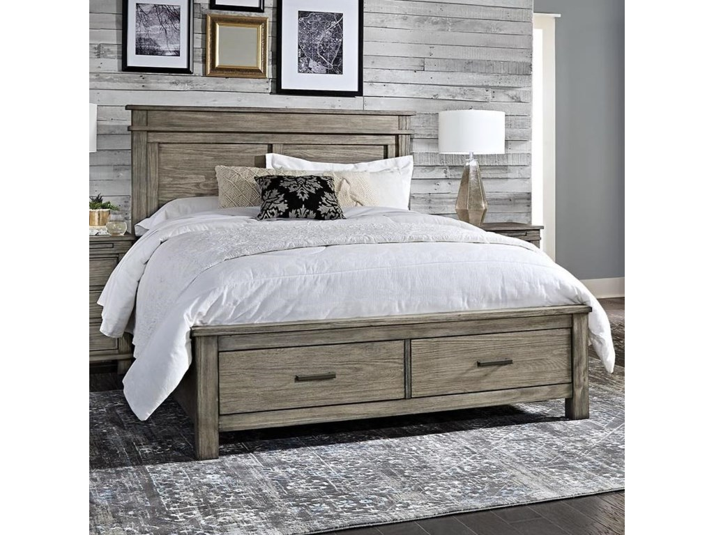 AAmerica Glacier Point Transitional Solid Wood Cal King Storage Bed ...