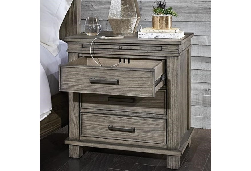 Aamerica Glacier Point Transitional Solid Wood 3 Drawer Nightstand With Usb Ports Fashion Furniture Nightstands