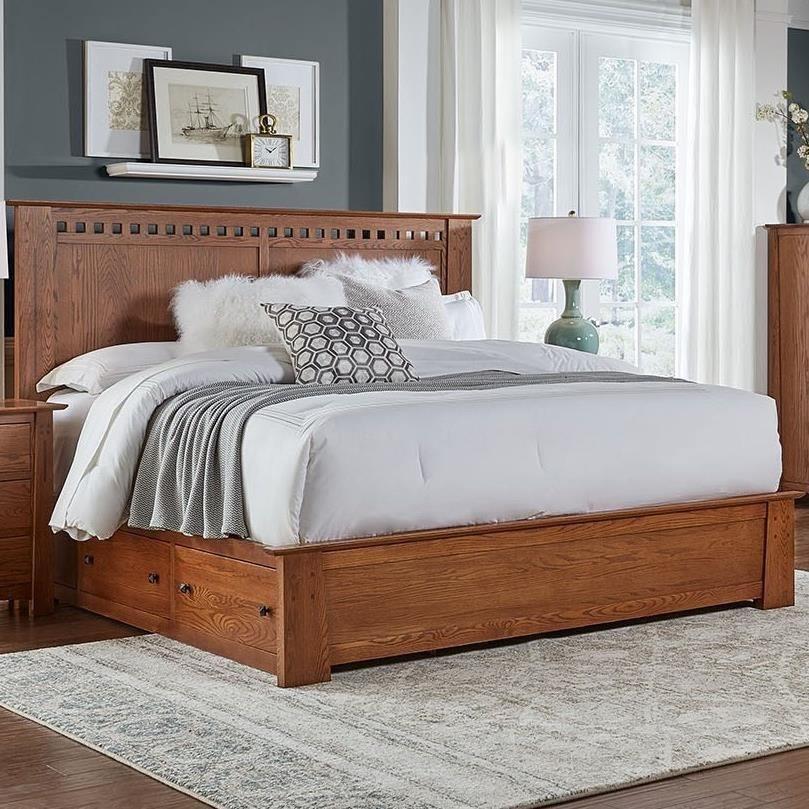 AAmerica Guilford Transitional Solid Wood Queen Storage Bed