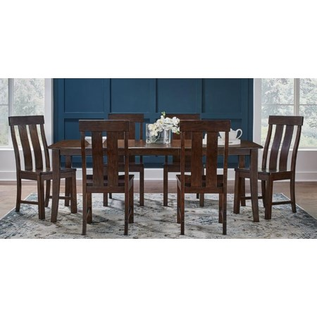 7-Piece Wood Leg Table and Chair Set