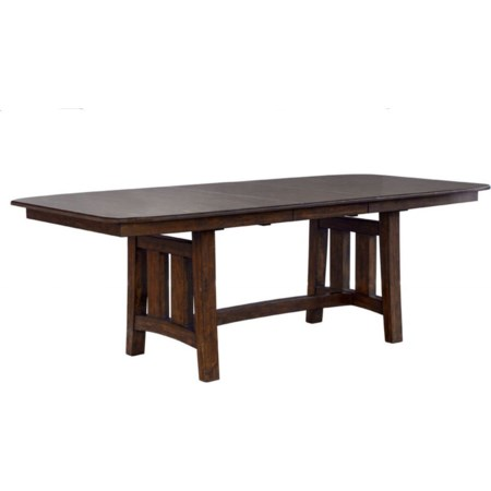 Rectangular Butterfly Leaf Trestle Table