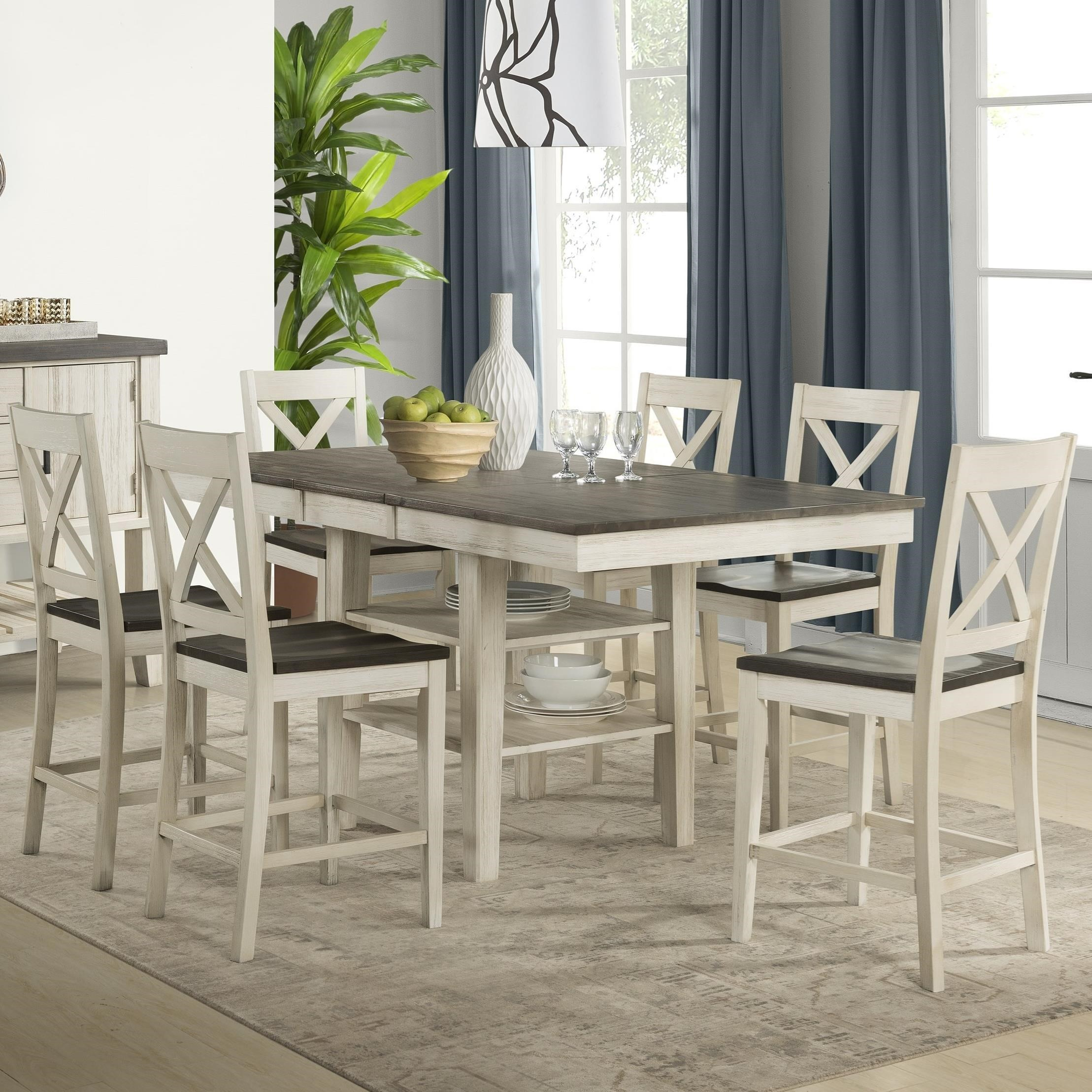 7 Piece Transitional Counter Height Table and X Back Chair Set