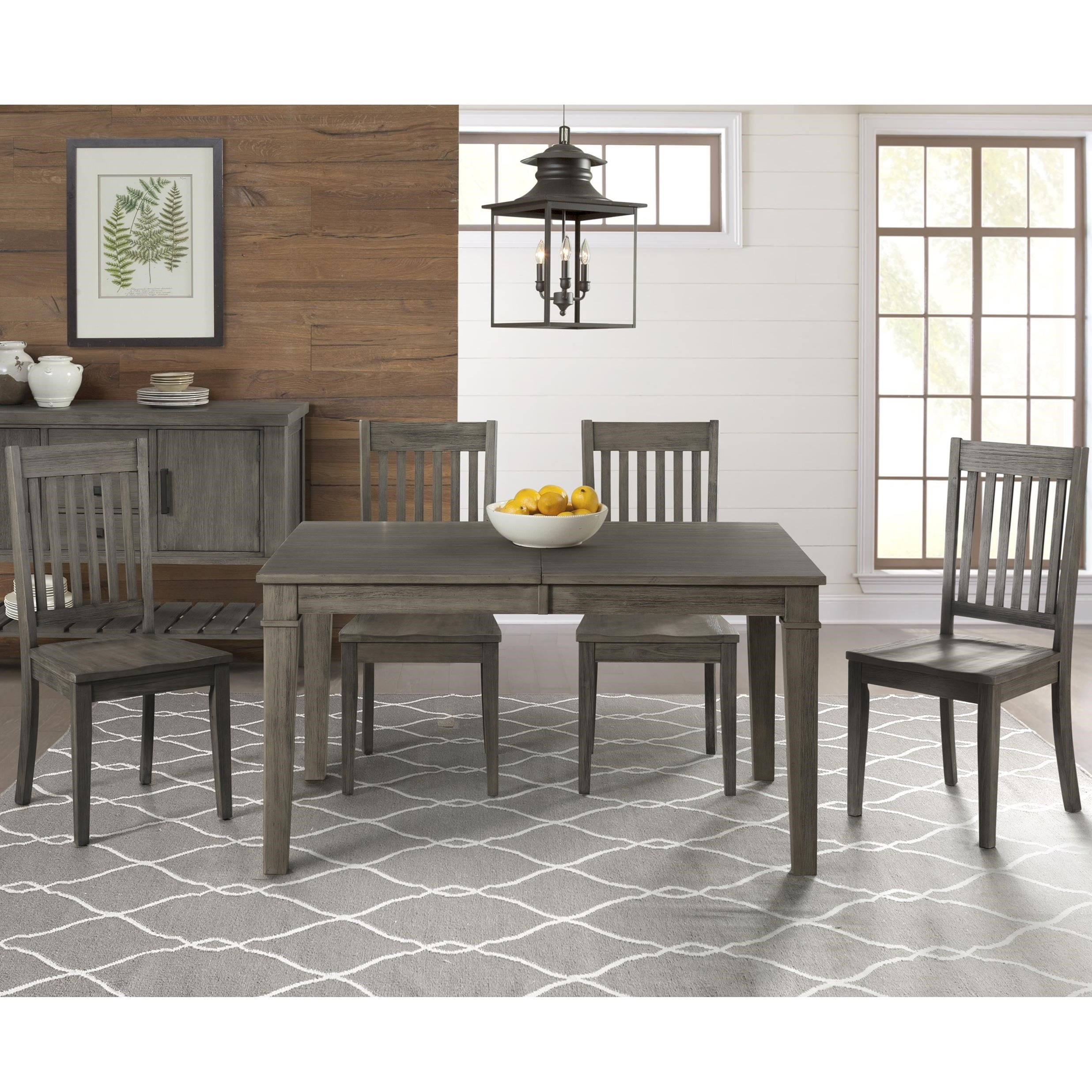 5 Piece Transitional Table and Slat Back Chair Set