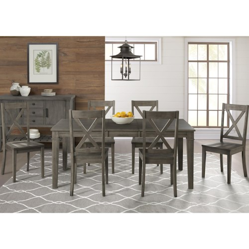 AAmerica Huron 7 Piece Transitional Table and X Back Chair Set