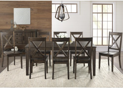 AAmerica Huron 9 Piece Transitional Table and X Back Chair Set