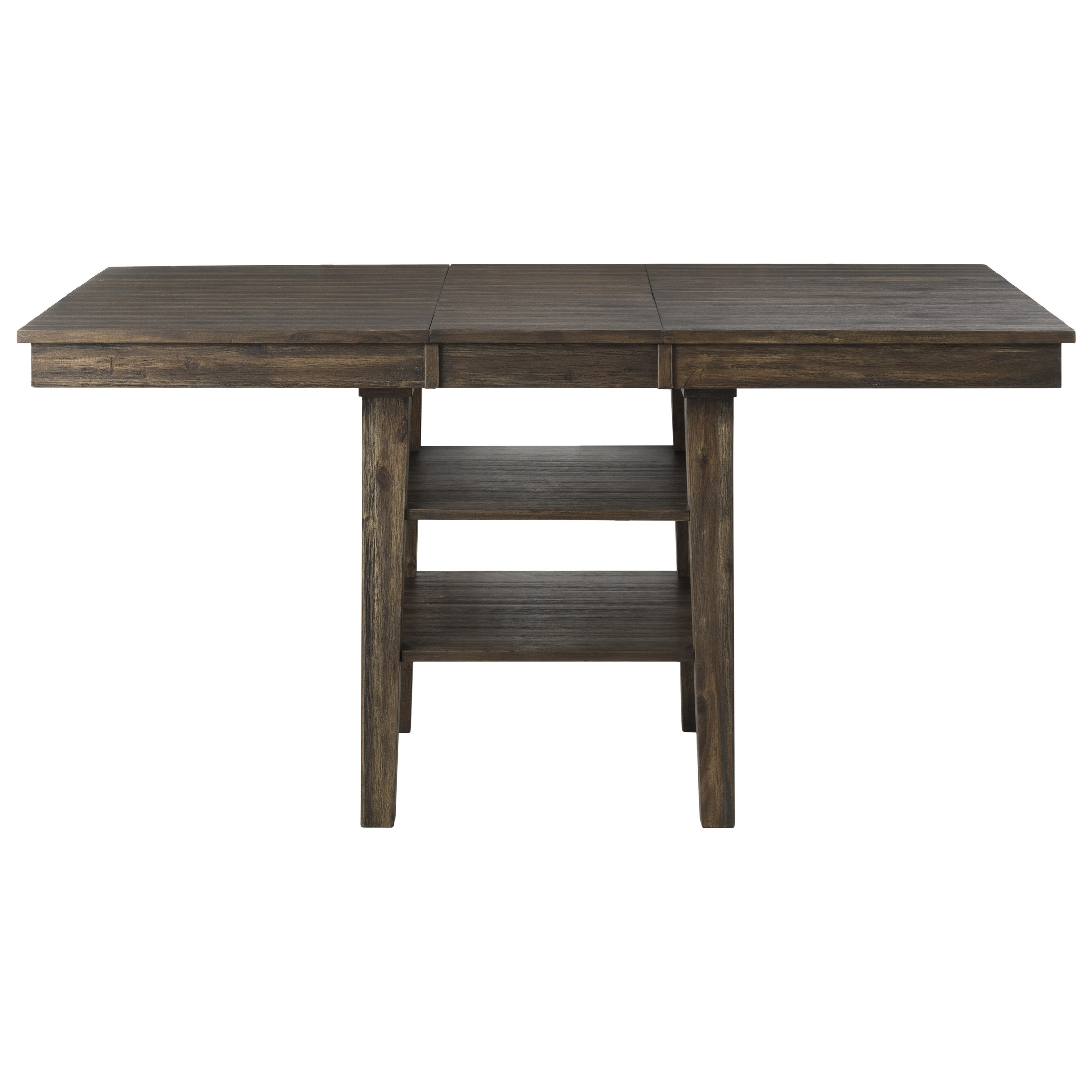 Transitional Solid Wood Counter Height Pedestal Table with 2 Shelves and Leaf