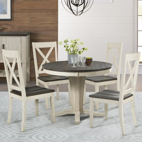 Aamerica Huron 5 Piece Pedestal Table And X Back Chair Set