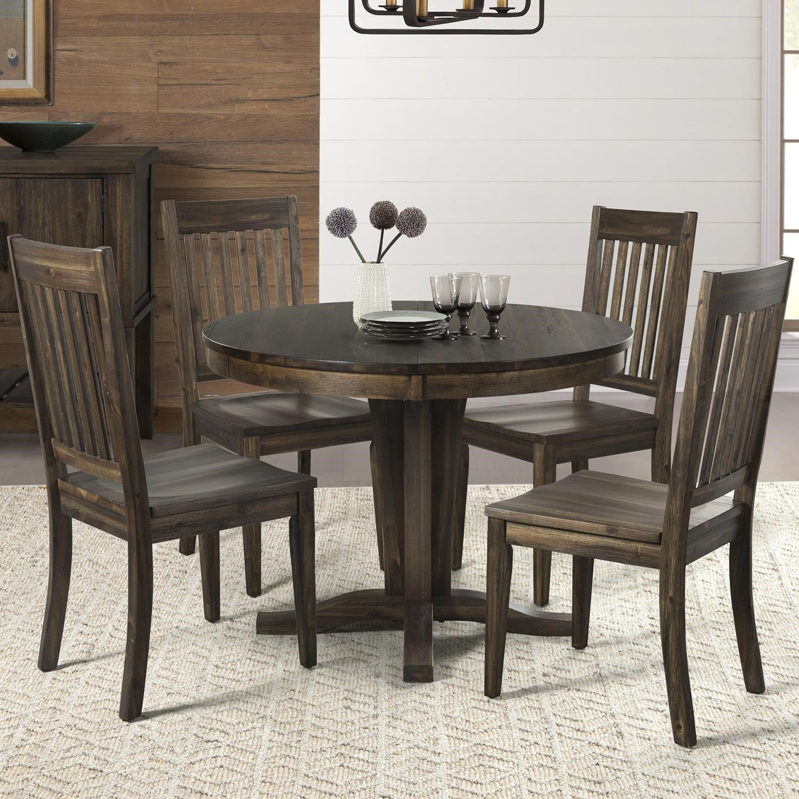 AAmerica Huron 5 Piece Pedestal Table And Slat Back Chair Set