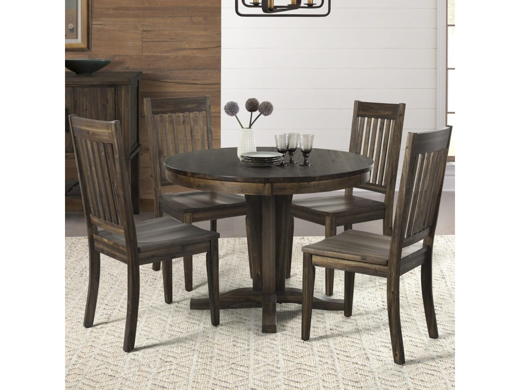 AAmerica Huron Piece Pedestal Table And Slat Back Chair Set - Black dining room table and chair sets