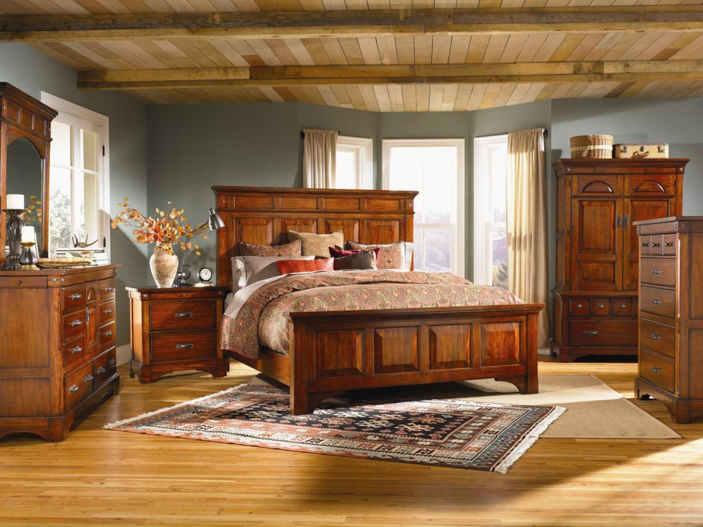 AAmerica KalispellKing Wood Mantel Bed