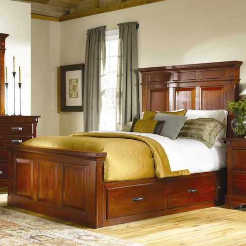 AAmerica Kalispell King Mantel Bed with Underbed Storage Boxes