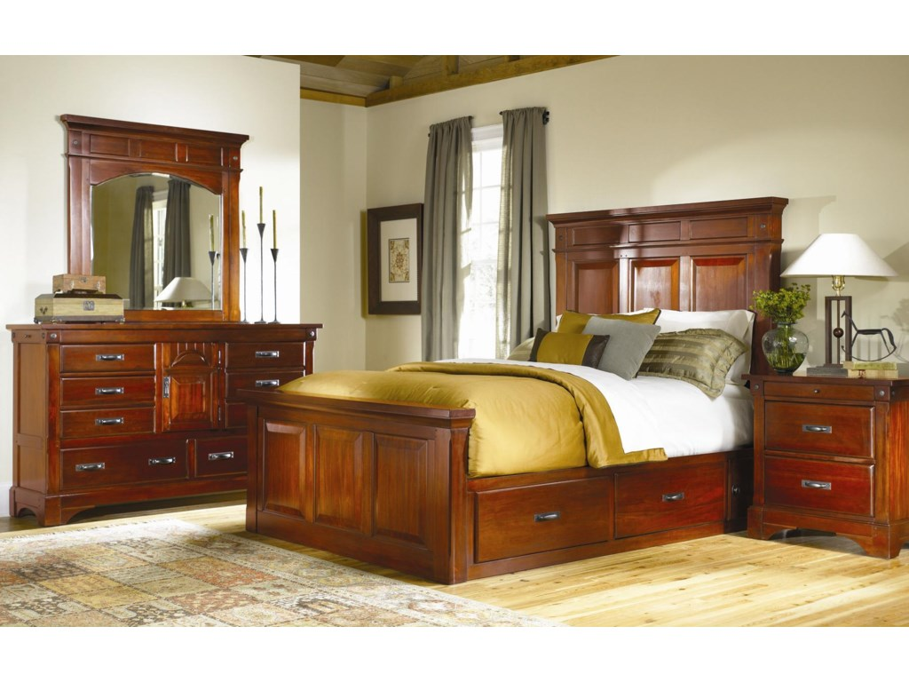 AAmerica KalispellKing Mantel Bed with Underbed Storage Boxes