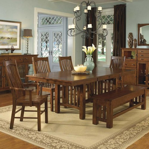AAmerica Laurelhurst Rectangular Trestle Table with 2 Arm Chairs, 2 Side Chairs & Bench