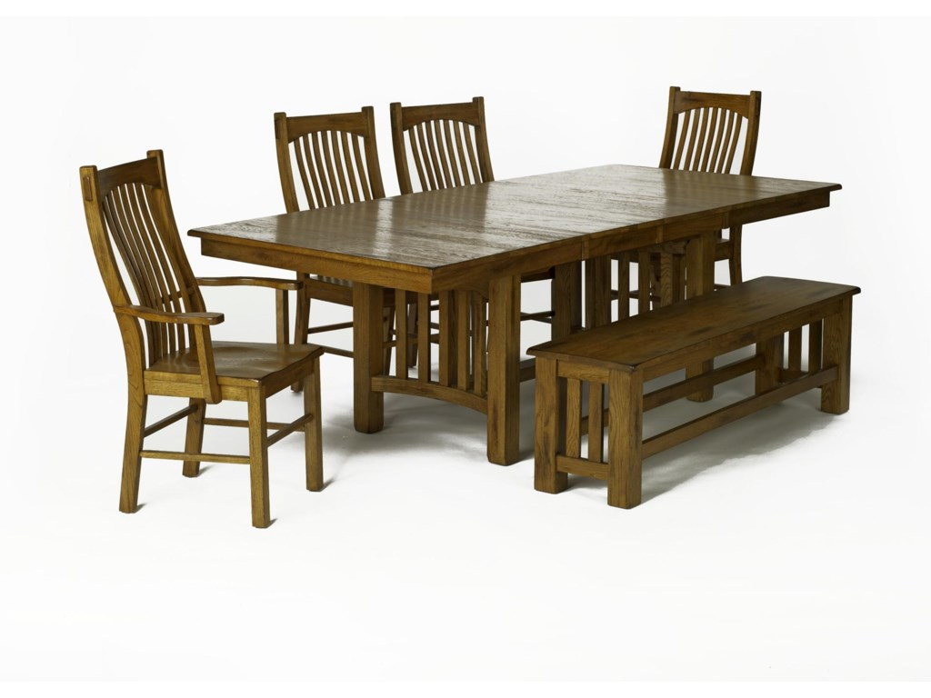 AAmerica LaurelhurstRectangular Table & 4 Chairs with Bench