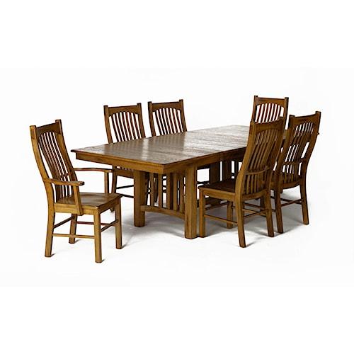 AAmerica Laurelhurst Rectangular Trestle Dining Table and Slat Back Chair Set