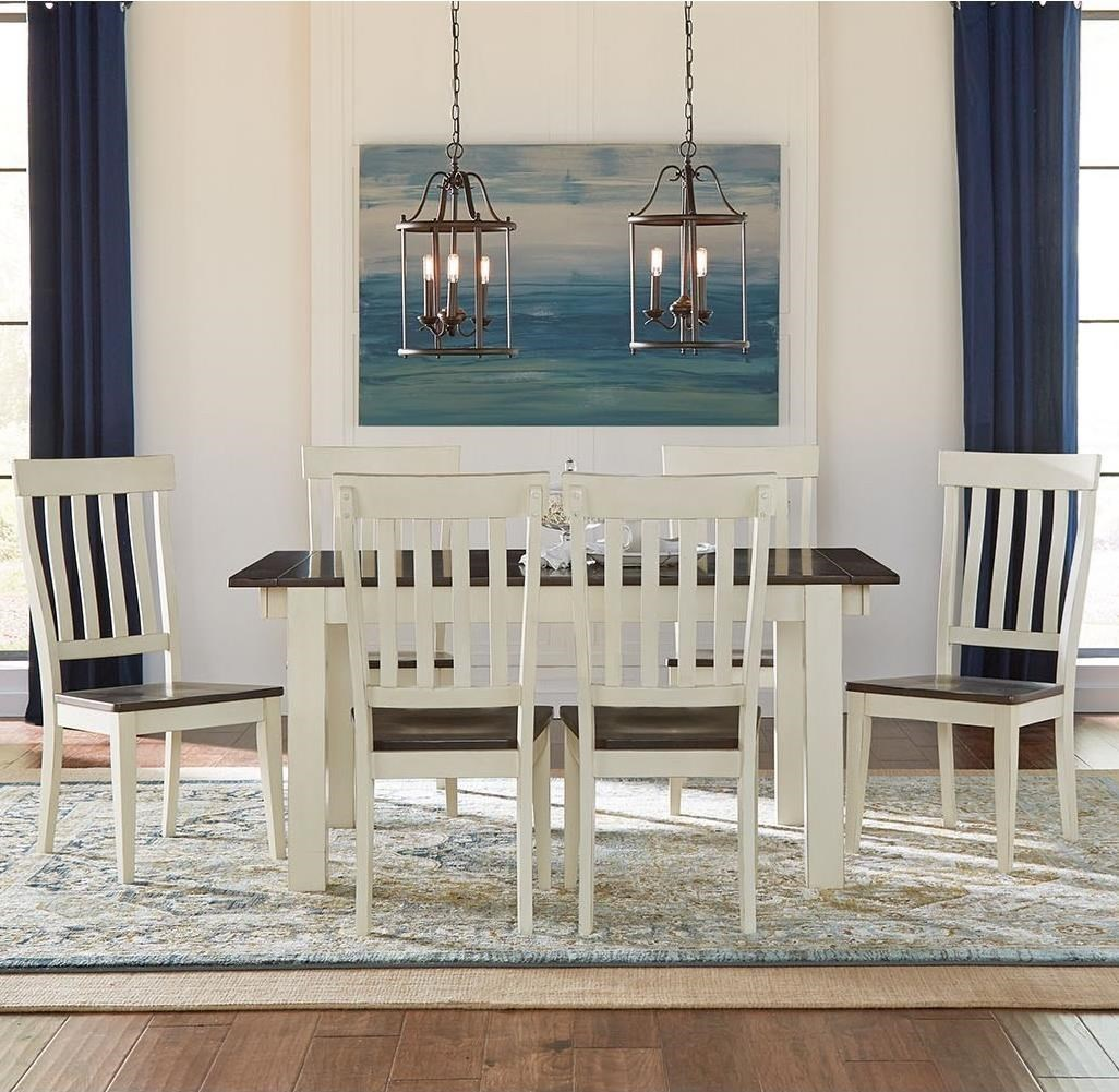7 Piece Dining Table and Slatback Chairs Set