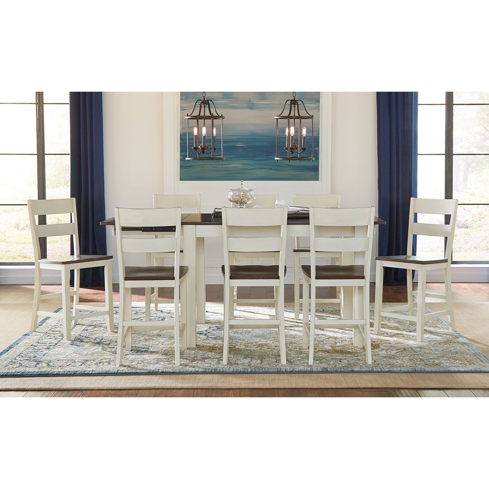 AAmerica Mariposa 9 Piece Counter Height Table And Ladderback Stool Set