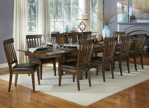 AAmerica Mariposa 11 Piece Trestle Table and Slatback Chairs Set