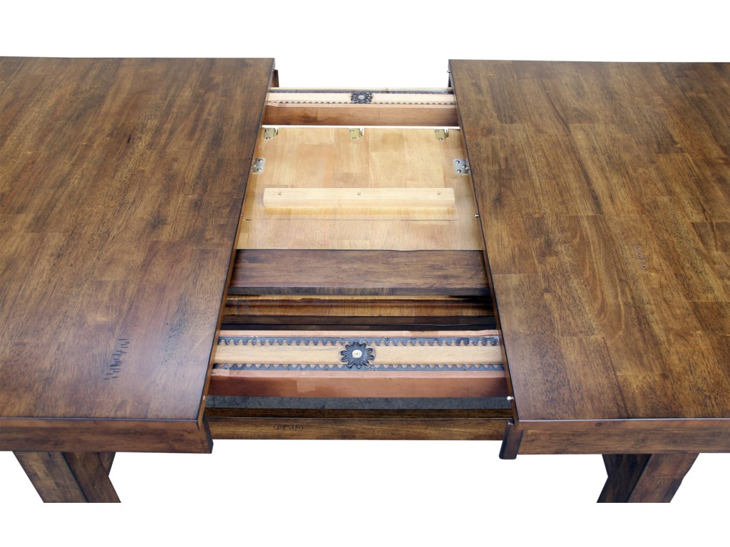 Table Slides Open to Extend to 132 Inches with Use of Leaves