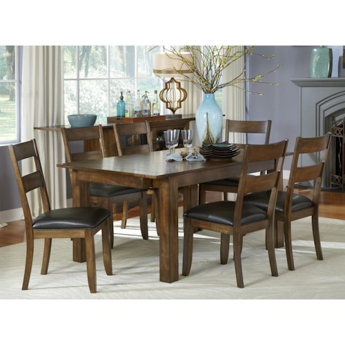 AAmerica Mariposa 7 Piece Rectangle Table and Ladderback Chairs Set