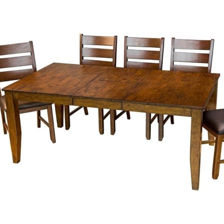 Table with 4 Slatback Upholstered Side Chair