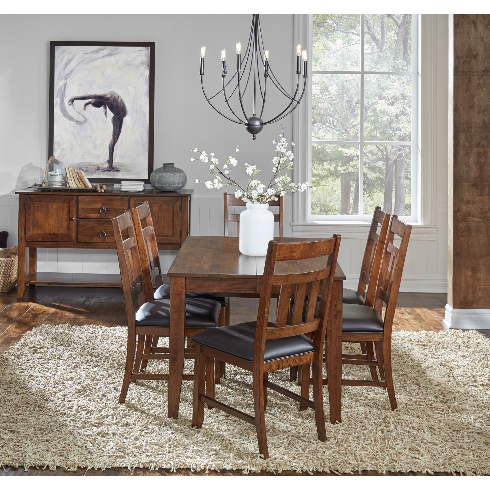 AAmerica Mason 7 Piece Square Butterfly Table And Chair Dining Set