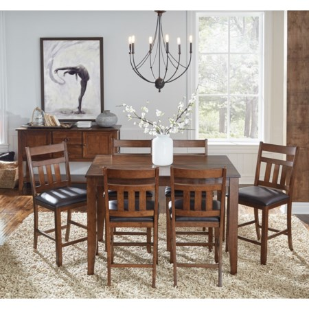 7 Piece Ladderback Height Dining Set