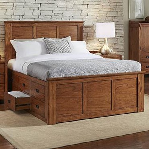 AAmerica Mission Hill King Captain's Bed with Storage Drawers