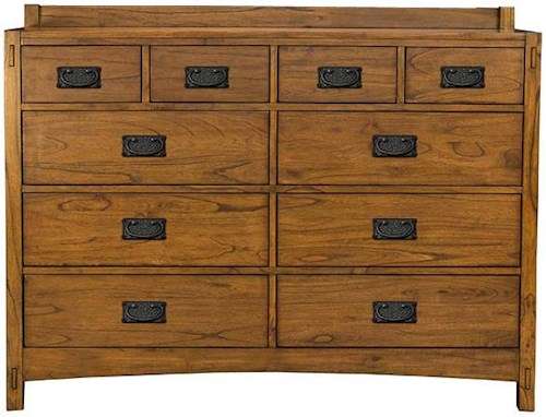 AAmerica Mission Hill Ten Drawer Dresser with Hammer Tone Textured Hardware