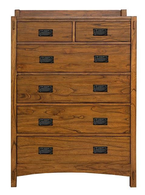 Six Drawer Chest with Hammer Tone Textured Hardware